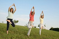 Girl, and, women, doing, yoga, exercise,