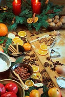 Christmas, decoration, candles, and, ingredients, for, baking,
