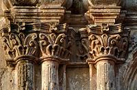 Capitals. Las Capuchinas Church. Morelia. Mexico/ Columnas del templo de Capuchinas. La iglesia de Capuchinas se construyo entre 1680 y 1737 para las ...