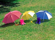 Umbrellas on grass