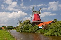 Windmills, twin, mills, Greetsiel, Lower, Saxony, Germany,
