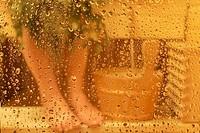 Woman taking sauna bath