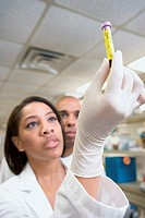 African female scientist looking at vial of blood