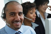Middle Eastern businessman wearing headset