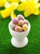 Mini eggs in egg cup