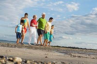 Surface shot of Hispanic family walking on beach
