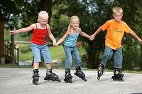 Children rollerblading