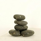 A stack of black stones