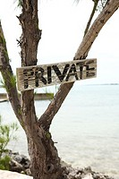 Private sign on tree at ocean