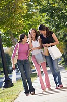 Teenage girls walking with shopping bags