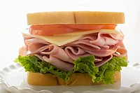 Ham, cheese and tomato sandwich