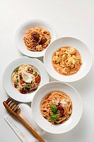 Four different pasta dishes