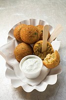Falafel chick-pea balls with yoghurt dip