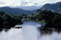Row boat on river, New Zealand
