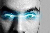 Digital composite of electricity between man´s eyes