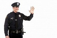 Male police officer waving (thumbnail)