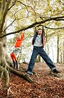 Children playing on tree (thumbnail)