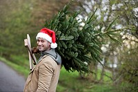 Man carrying a Christmas tree