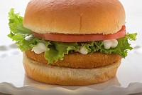 Chicken burger with tomato, lettuce and mayonnaise