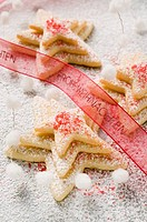 Pastry stars with sugar for Christmas