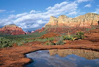 Distant formations reflect in an ephemeral pool left behind by a passing monsoon storm in Sedona, Arizona, USA