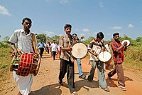 Playing drums in Kallampathai village, Trincomalee. Sri Lanka