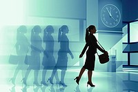 Businesswoman moving against time