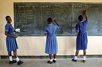 Three members of the Nyachuru High School AIDS Club write on the chalkboard a list of the their fears. The exercise is prompted by a Canadian guest le...