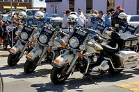 Law Enforcement Motorcycles at Strawberry Festival Parade in Plant City Florida. USA.