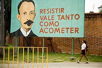 Revolutionary pannel with Jos&#233; Mart&#237; portrait. Santiago de Cuba. Cuba