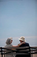 Rear view of a senior couple sitting on a bench