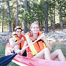 A young couple in a canoe