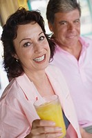 Couple having drinks in restaurant