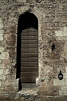 Closed window of a building, Gubbio, Umbria, Italy