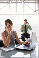 Teamwork in business, woman using laptop while phoning