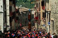 Group of men holding a St  Ubald statue, St  Ubaldo Day, Gubbio, Umbria, Italy
