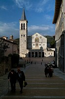 Group of people walking in front of a cathedral, Cathedral Of Spoleto, Spoleto, Umbria, Italy