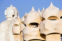 Scultures on the roof terrace. Casa Milà (La Pedrera), by Antoni Gaudí. Barcelona, Spain