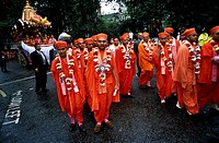 Group of religious people in a traditional ceremony, London, England