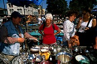 Four people in a market, Bermondsey Market, Bermondsey, London, England