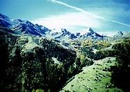 mountains, scenery, landscape, Alps, mountain landscape, village, autumn, lomo, Blurred, Switzerland, Europe, Valais