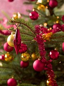 Close up of decorations on a Christmas tree