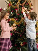Siblings decorating a Christmas tree