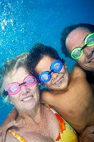 Grandparents Underwater with Grandson
