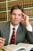 Businessman reading at desk