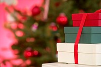 A stack of Christmas presents
