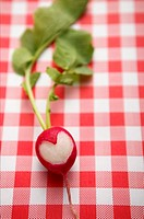 Radish with heart-shaped symbol