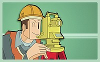 Architect looking through a theodolite