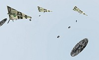 Paper currency notes and coins flying