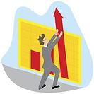 Businessman fixing an arrow sign on a bar graph